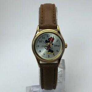 Disney-Womens-MU1O23-Mickey-Mouse-Gold-Tone-Quartz-Analog-Watch-Leather-Band