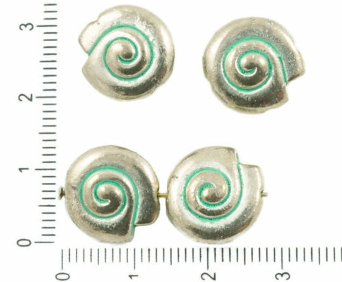6pcs antique silver tone patina wash large round spiral snail sea shell seashell