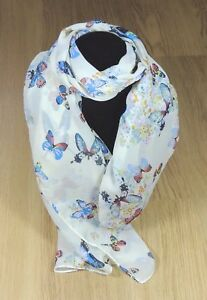 Women-039-s-Scarf-Soft-Chiffon-Cream-Butterfly-Print