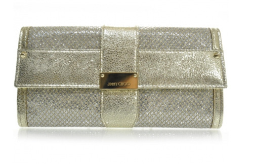JIMMY CHOO Glitter Fabric Ubai Clutch Wallet Metal