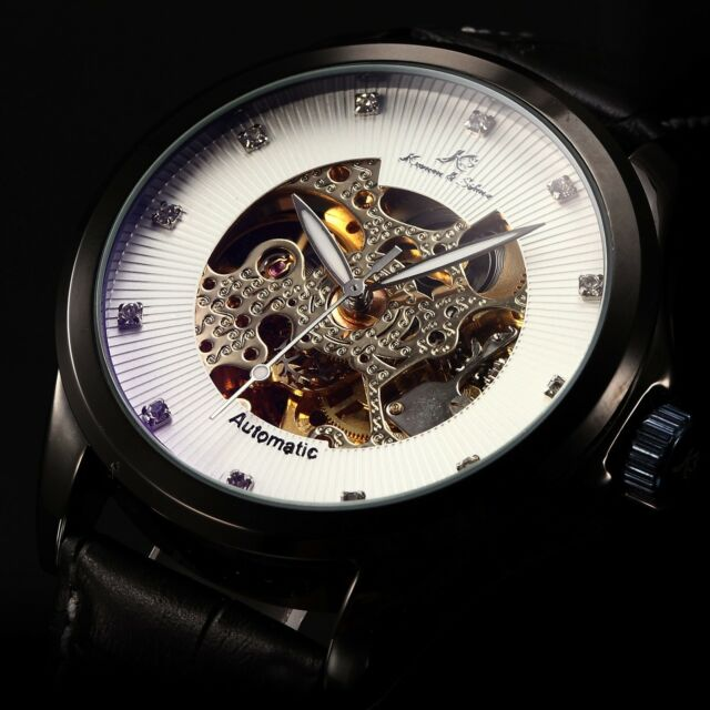 KS White Rhinestone Royal Carving Skeleton Men's Leather Band Mechanical Watch