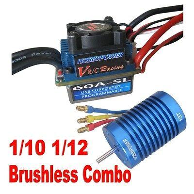 Racing 60A ESC Brushless Speed Controller 13T 3100KV Motor for 1/10 1/12 RC Car