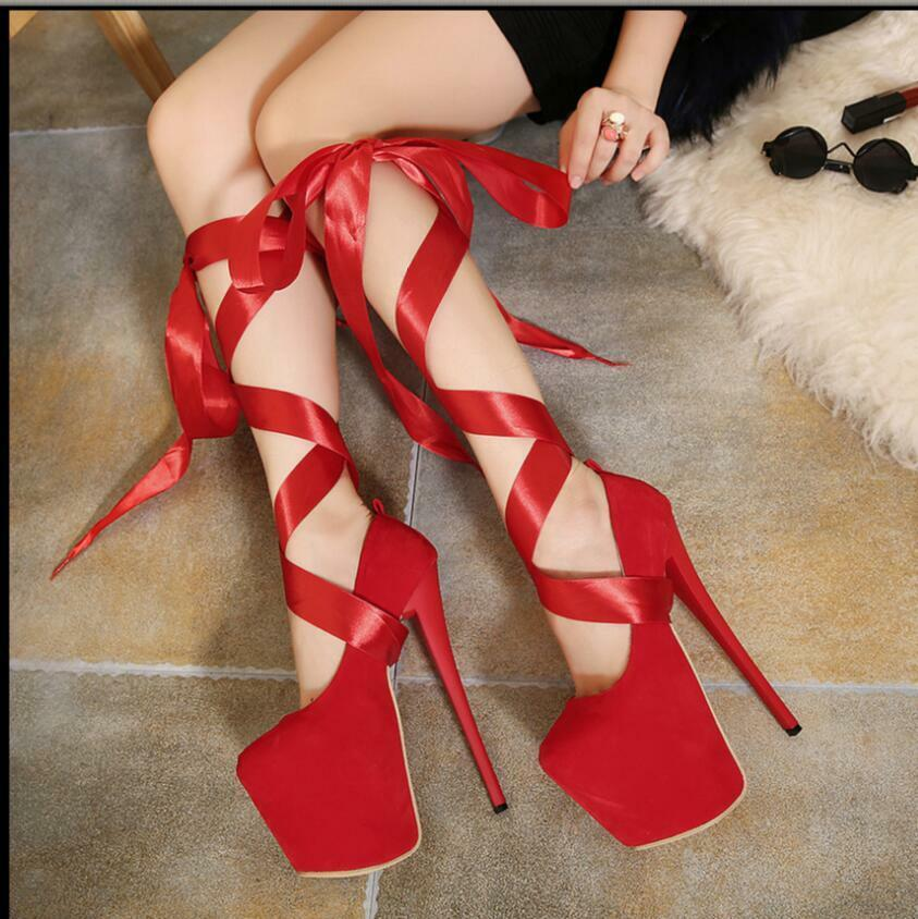 19cm Seidenband Abend Sexy Sommer Sandale Damenschuhe Pumps High Heels 35-40