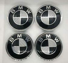 BMW Carbon Black Badge Wheel Centre Caps Set Fits 1 3 5 6 7 E Series 7pcs