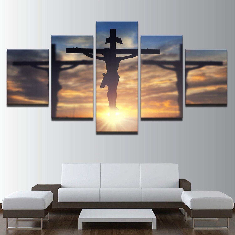 Jesus Christ Cross Divine Light 5 Panel Canvas Print Wall Art