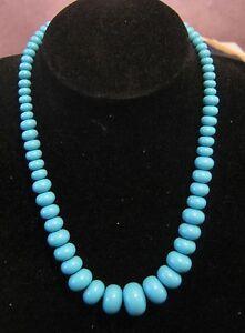 Wonderful graduated bright blue beads with hook clip approx 48cm - Newent, United Kingdom - Wonderful graduated bright blue beads with hook clip approx 48cm - Newent, United Kingdom