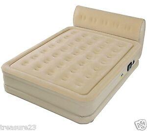 queen size inflatable air mattress raised bed built in pump serta headboard. Black Bedroom Furniture Sets. Home Design Ideas