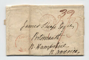 1813-London-ship-letter-to-Portsmouth-NH-H-602