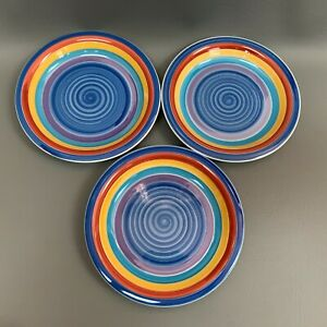 GMT-Salad-Plates-Swirl-Multi-color-Blue-Yellow-Red-Purple-7-3-8-2001-Lot-of-3