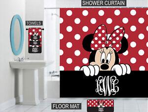 Peeking Minnie Mouse Bathroom Decor Personalized Shower Curtain Towels Mat Ebay