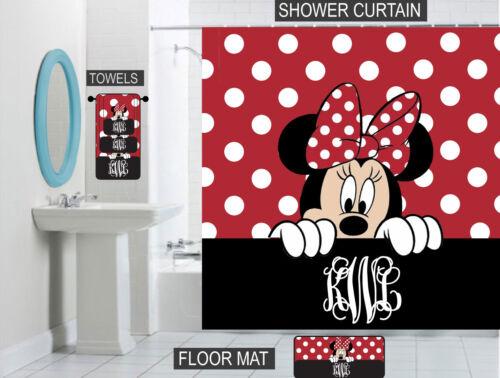 Peeking Minnie Mouse Bathroom Decor Personalized Shower Curtain//Towels//Mat
