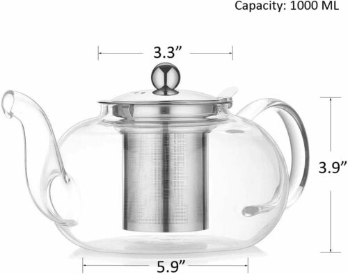 Details about  /Stove Top Tea Kettles Artcome 1000Ml//34Oz Glass Teapot With Removable Infuser St