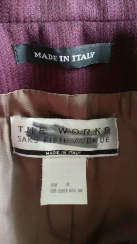 Fleece Plum Blazer Works The Sz 8 Wool Fifth 100 Saks Avenue x066qFXA