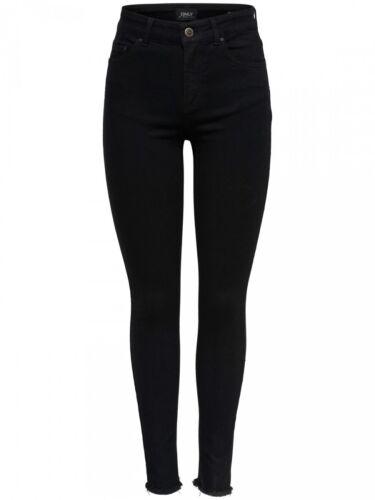 Only Damen Jeans onlBLUSH MID SK ANK RAWJNS REA2343 Black Skinny Fit