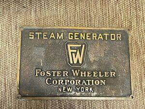 Vintage-Large-Brass-FOSTER-WHEELER-STEAM-GENERATOR-PLAQUE-Steampunk-engine-plate
