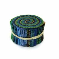 Rjr Malam Batik Lagoon Lime Green Blue Assorted Pixie Strips Jelly Roll Fabric