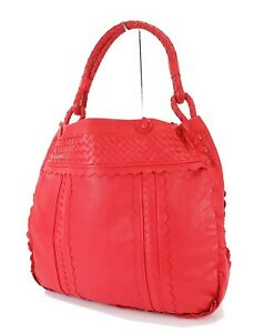 Auth BOTTEGA VENETA Red Woven and Perforated Leather Tote Hand Bag ... b31ec7bc25930