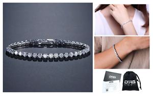 Bracciale-Tennis-Uomo-Donna-Acciaio-Inox-Argento-Cristalli-Bianco-Oro-Diamanti