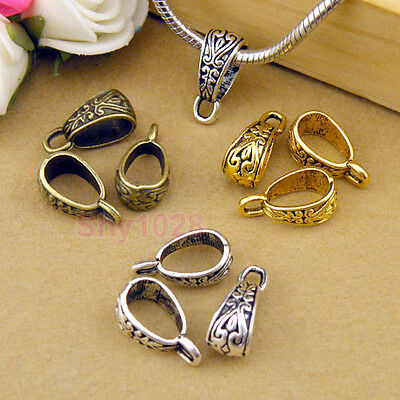 12Pc Tibetan Silver,Gold,Bronze Charm Pendant Bail Connector Fit Bracelet M1101