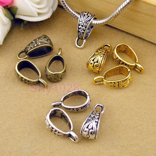 12Pc Tibetan Silver,Gold,Bronze Charm Pendant Bail Connector Fit Bracelet M1101