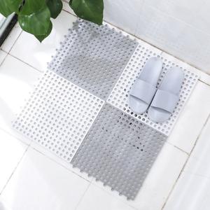 4//6pcs Anti-Slip Rubber Bath Shower Tub Mat Thick PVC Interlocking Pad Air holes