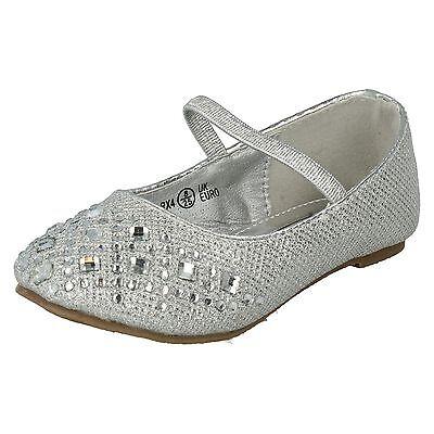 Niñas Punto en Brillante Diamante Detalle Inteligente Fiesta Dama De Honor Zapatos H2303