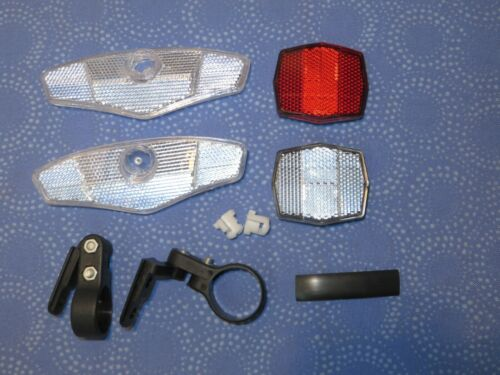 Bicycle Sunlite Deluxe Front Clear Rear Red Reflector Mounting Kit New