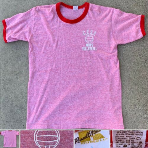 Vintage CCSF Men's Volleyball Ringer Tee T-Shirt U