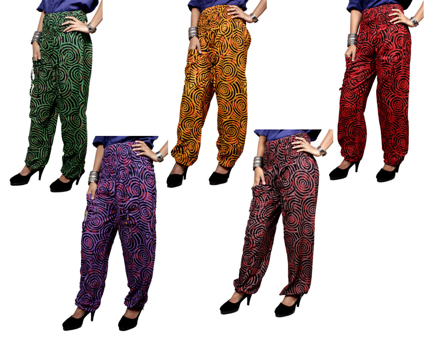 Apparels India 5Pcs-100pcs Circle Printed Baggy USA Hippie Pants Wholesale Lot