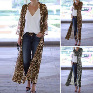 Classique Femme Cardigans Manteau Manche Longue Imprimé léopard Plage Quotidien