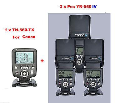 Yongnuo YN560-TX/C  Wireless Flash Controller for Canon + 3 Pcs YN-560IV Flash