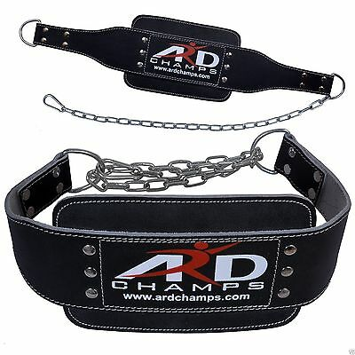 ARD CHAMPS™ Weight Lifting Leather Belt Back Support Gym with heavy chain BLACK