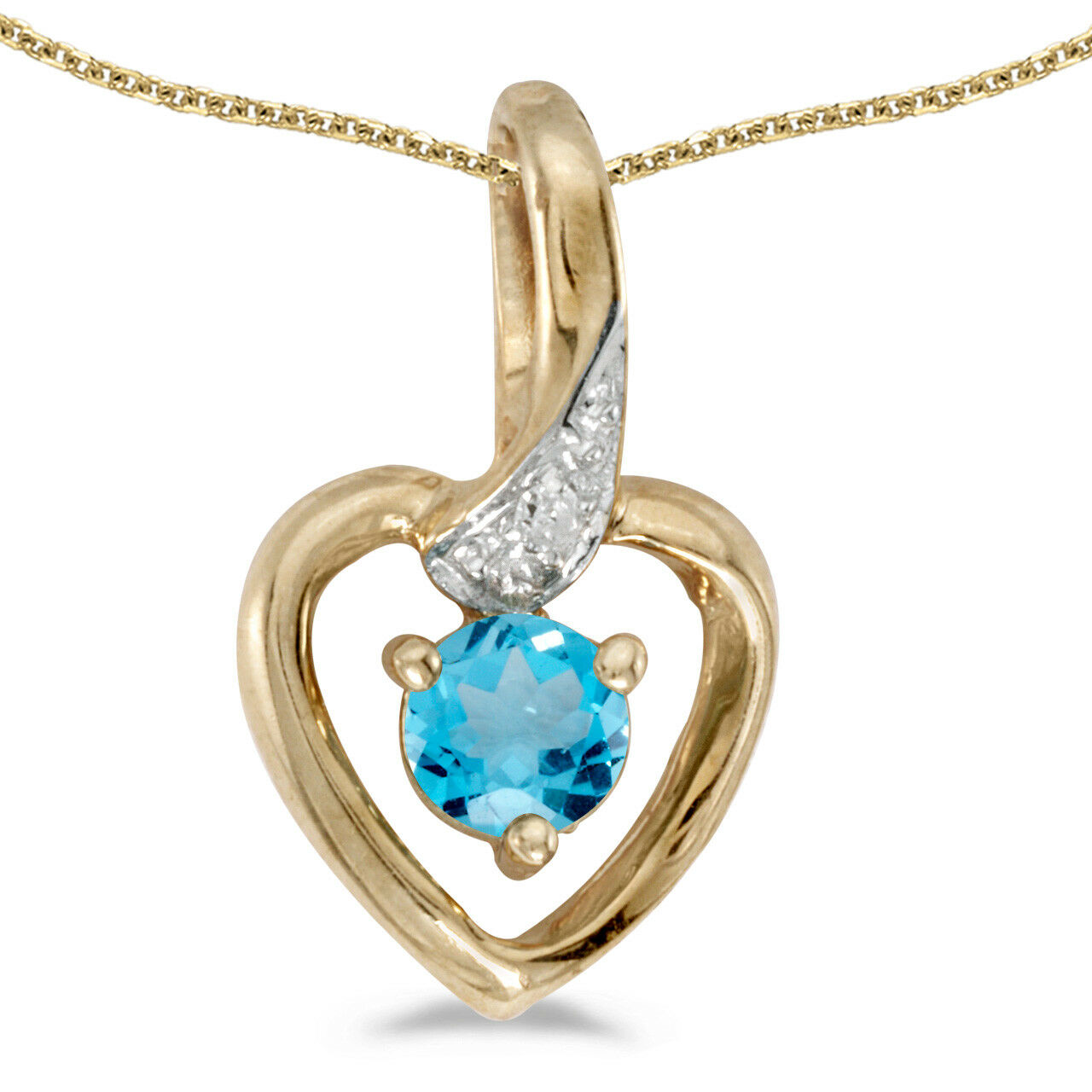 10k Yellow gold Round bluee Topaz And Diamond Heart Pendant with 18  Chain