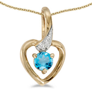 10k-Yellow-Gold-Round-Blue-Topaz-And-Diamond-Heart-Pendant-with-18-034-Chain