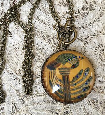 ART NOUVEAU PEACOCKS Vintage Picture Locket Necklace VINTAGE BIRD ART