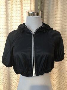Activewear Lucy Athletic Nylon Hooded Black Crop Short Sleeve Rain/wind Jacket Size S Euc