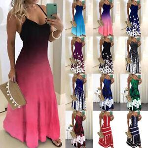 Summer Women/'s Strappy Boho Maxi Dress Party Tunic Long Swing Sundress Plus Size