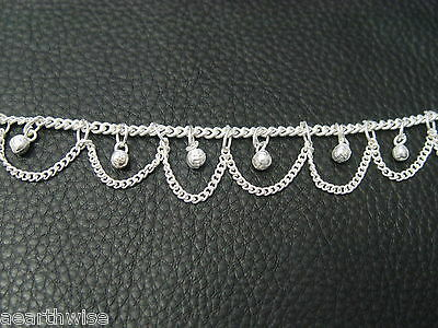 ANKLET:  WITH BELLS SILVERTONE Wicca Witch Pagan Belly Dance Goth Punk Hippie