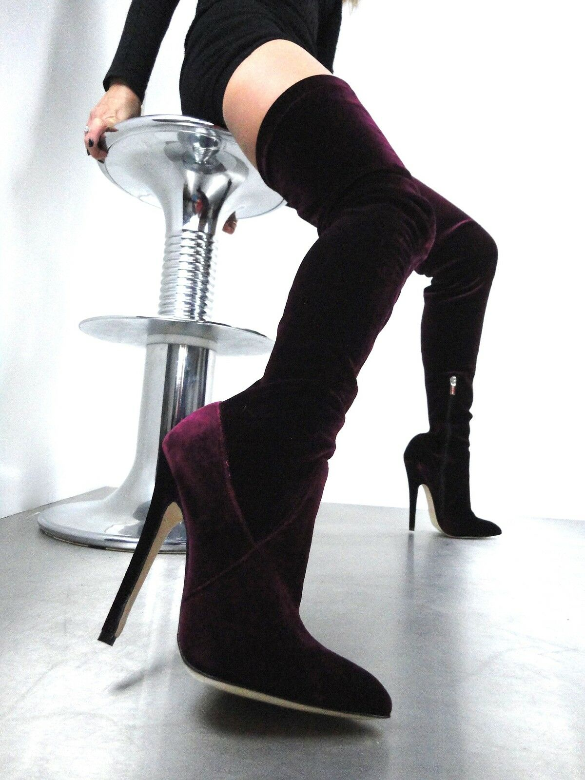 CQ COUTURE EXTREME OVERKNEE BOOT STIEFEL STIEFEL BOOT STIVALI STRETCH VELVET RED BORDEAUX 39 e34fc0