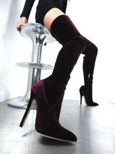 Couture Cq 42 Stretch Stivali Boot Velvet Stiefel Bordeaux Overknee Extreme Red dqqgrZ