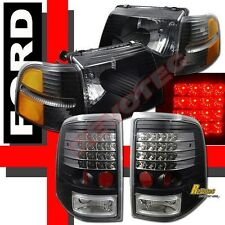 02 03 04 05 Ford Explorer 4Dr Headlights Corner Signal & LED Tail Lights Black