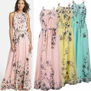2f5d89fe7ca1b7 Plus Size Womens Boho Floral Chiffon Long Maxi Dress Evening Party ...
