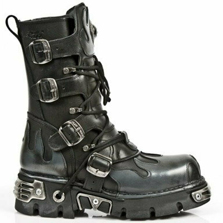 NEWROCK Men's Leather New Rock 591-S2 Black With Silver Flames Goth Biker Boots