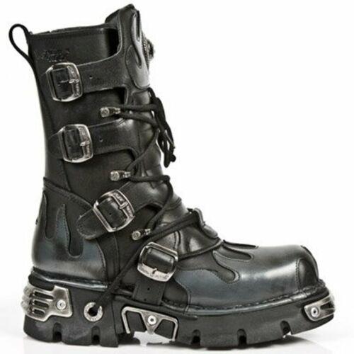 Nuevo NEWROCK para hombre de cuero negro con llamas Plata Rock 591-S2 goth biker boots