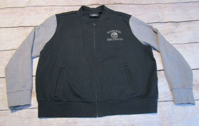 Harley Davidson Blk Gray Full Zip Rhinestone Skull Womens Sweatshirt Jacket 2XL