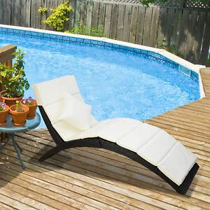 Klappbar Polyrattan Gartenliege Sonnenliege Rattanliege Gartenmobel