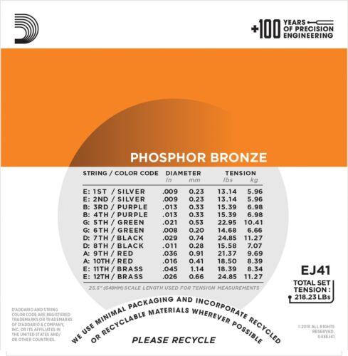 D/'Addario Guitar Strings  12 String  09-45  Phosphor Bronze