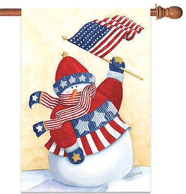 Toland Star Spangled Snowman 28 X 40 Patriotic Winter Snow Usa House Flag 17917018363 Ebay