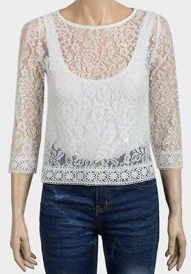 Ex Uk Chainstore Womens Sheer Lace Crop Boxy Body Ladies Top Burgundy 3//4 Sleeve