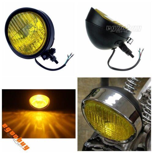 "Motorcycle Black 5.75/"" 12V 60W Retro Style Headlight Lamp For Harley Old School"